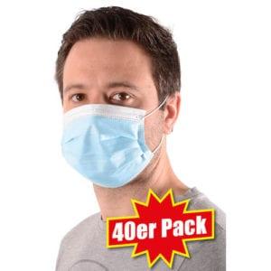 40er Pack Einweg-Mund-Nasen-Schutzmasken