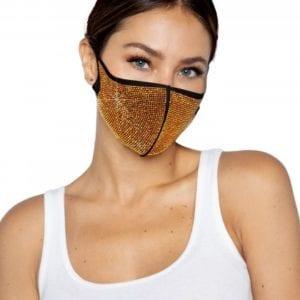 Gesichtsmaske mit goldenen Strasssteinen