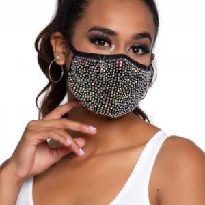 Gesichtsmaske mit mehrfarbigen Strasssteinen