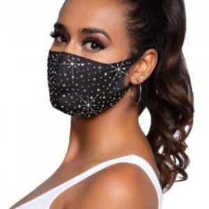 Gesichtsmaske, nahtlos mit mehrfarbigen Strasssteinen
