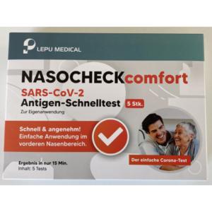 SARS-CoV-2 Antigen-Schnelltest von LEPU MEDICAL nasocheck comfort (€3,49/Stück-5erPack €17,49)