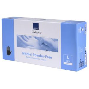 ABENA® Classic Nitril Einweghandschuhe, schwarz, Unsterile, puderfreie Einmalhandschuhe mit Rollrand, 1 Karton = 10 Packungen = 1000 Stück, Größe L