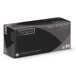 BINGOLD Nitril 35BLACK Einweghandschuhe, schwarz, Einweghandschuh aus Nitril, schwarz und puderfrei, 1 Packung = 100 Stück, Größe L