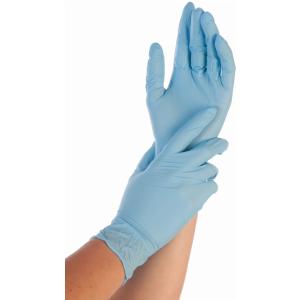Hygonorm® Einmalhandschuhe Nitril Safe Fit, blau, Einweghandschuh, puderfrei und lebensmittelgeeignet, 1 Packung = 200 Stück, Größe: S