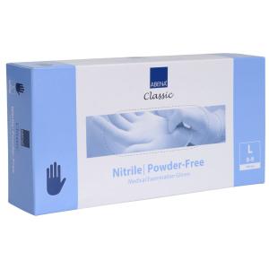 ABENA® Sensitive Nitril Einweghandschuhe, blau, Unsteril, puderfrei, mikro-texturierte Fingerspitzen mit Rollrand, 1 Karton = 10 Packungen = 1000 Stück, Größe L