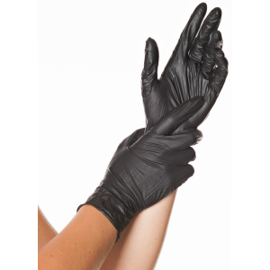 HYGOSTAR® Nitrilhandschuhe Safe Light, puderfrei, schwarz, Einweghandschuh ist sehr komfortabel, elastisch, mit Rollrand, 1 Packung = 100 Stück, Größe: XL