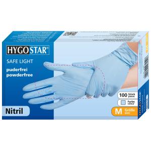 HYGOSTAR® Nitrilhandschuhe Safe Light, puderfrei, blau, Einweghandschuh ist sehr komfortabel, elastisch, mit Rollrand, 1 Karton = 10 Packungen = 1000 Stück, Größe: M