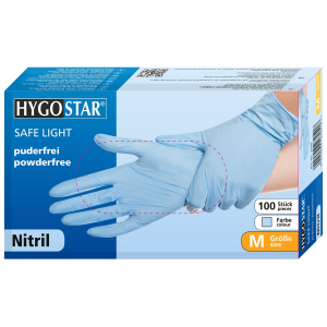 HYGOSTAR® Nitrilhandschuhe Safe Light, puderfrei, blau, Einweghandschuh ist sehr komfortabel, elastisch, mit Rollrand, 1 Packung = 100 Stück, Größe: S