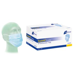 Meditrade Suavel® Protec medizinischer Einmalmundschutz, OP-Maske, EN 14683 Typ II, 3-lagig mit elastischen Ohrschlaufen, 1 Packung = 50 Stück, blau